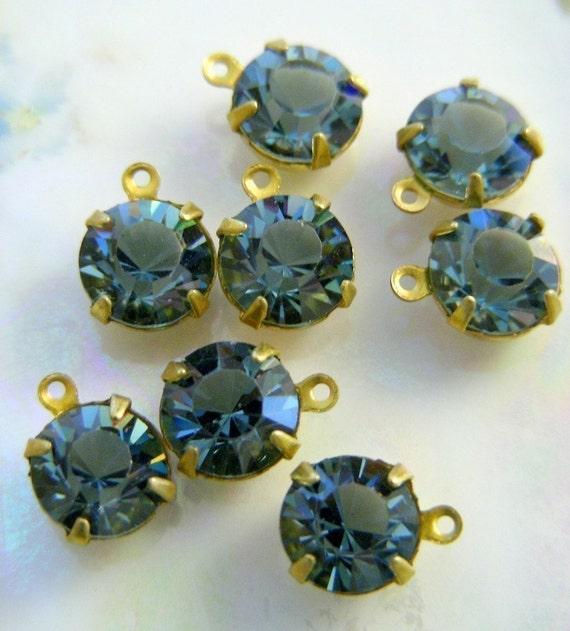 Rhinestone Drops - INDIAN SAPPHIRE Blue Vintage Swarovski RHINESTONE Drops - 4 Pieces