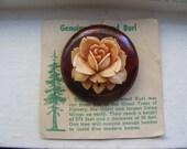 gorgeous rose, carved, redwood burl brooch
