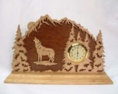 Wolf in the Snow Covered Forest Wood Desk Clock