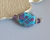 Caribbean Dream Necklace- Aqua and Purple Raku,  Amethyst,Sterling