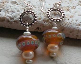 Galaxy Earrings - Handmade Lampwork, Freshwater Pearls, Sterling Silver