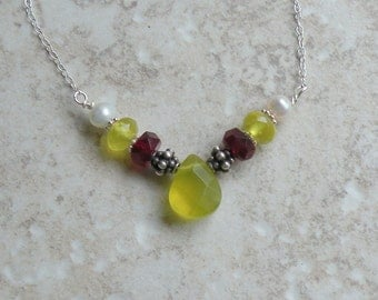Yummy Necklace - Korean Jade,  Red Czech Glass, Freshwater Pearls and Sterling Silver