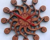 Handcarved Wall Clock--Solaris