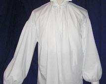 Mens Regency/ DARCY  High Neck Cotton Dress Shirt with button cuff. Custom made. FREE SHIPPING!!