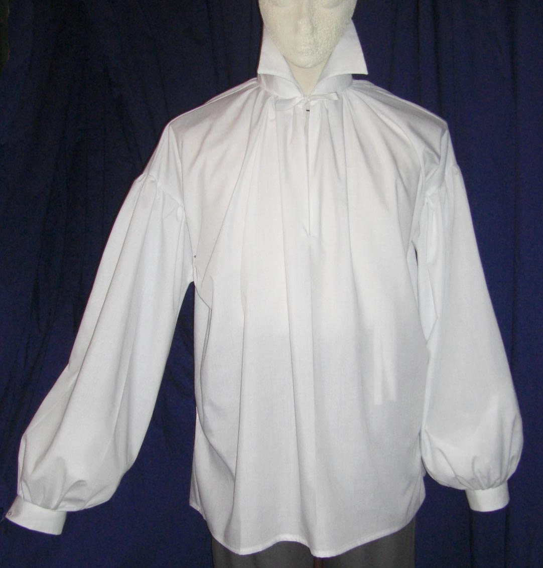 Mens Regency Darcy High Neck Cotton Dress Shirt With Button