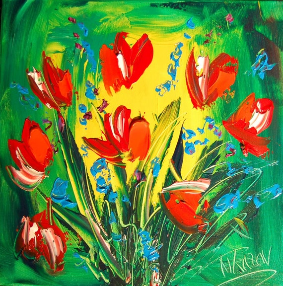 Superb Palette Knife Textured FLOWERS original oil painting TULIPS modern abstract textured art