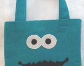 PARTY PACK SET of 4 Cookie Monste inspired Reusable Party Favors bags goodie bag