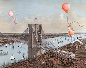 Print of Brooklyn Bridge map