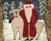 Santa Hooked Rug Pillow