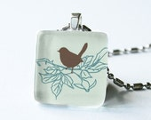 Little Bird on Soft Mint - Glass Pendant