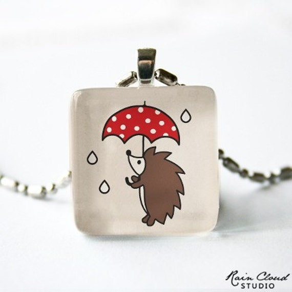 Rainy Day Hedgehog on Dusty Rose - Glass Pendant