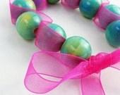 Tied with a Pink Ribbon - Ceramic beads and Organza Ribbon Tied Bracelet - Choker Necklace