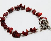 Red Coral Chip and Silver Metal Bracelet