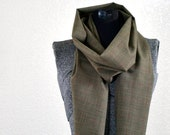 Brown and Peach Plaid Fabric Scarf - Gift for Him