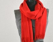 Wide Scarlet Red Linen Fabric Scarf Wrap Shawl