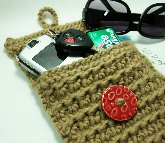 Almonds and a Cherry - Wool Knit Pouch with Red Ceramic Button