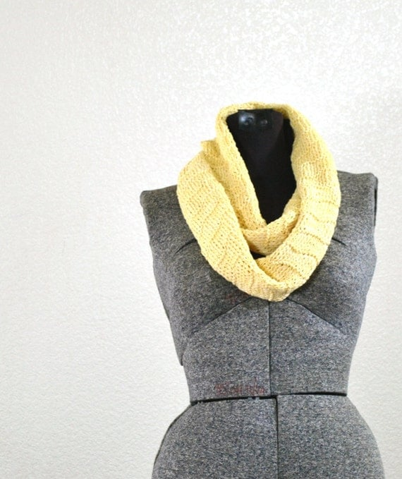 Buttercream Yellow 100 Percent Cotton Knit Lightweight Summer Scarf - Scalloped Pattern with Long Fringe