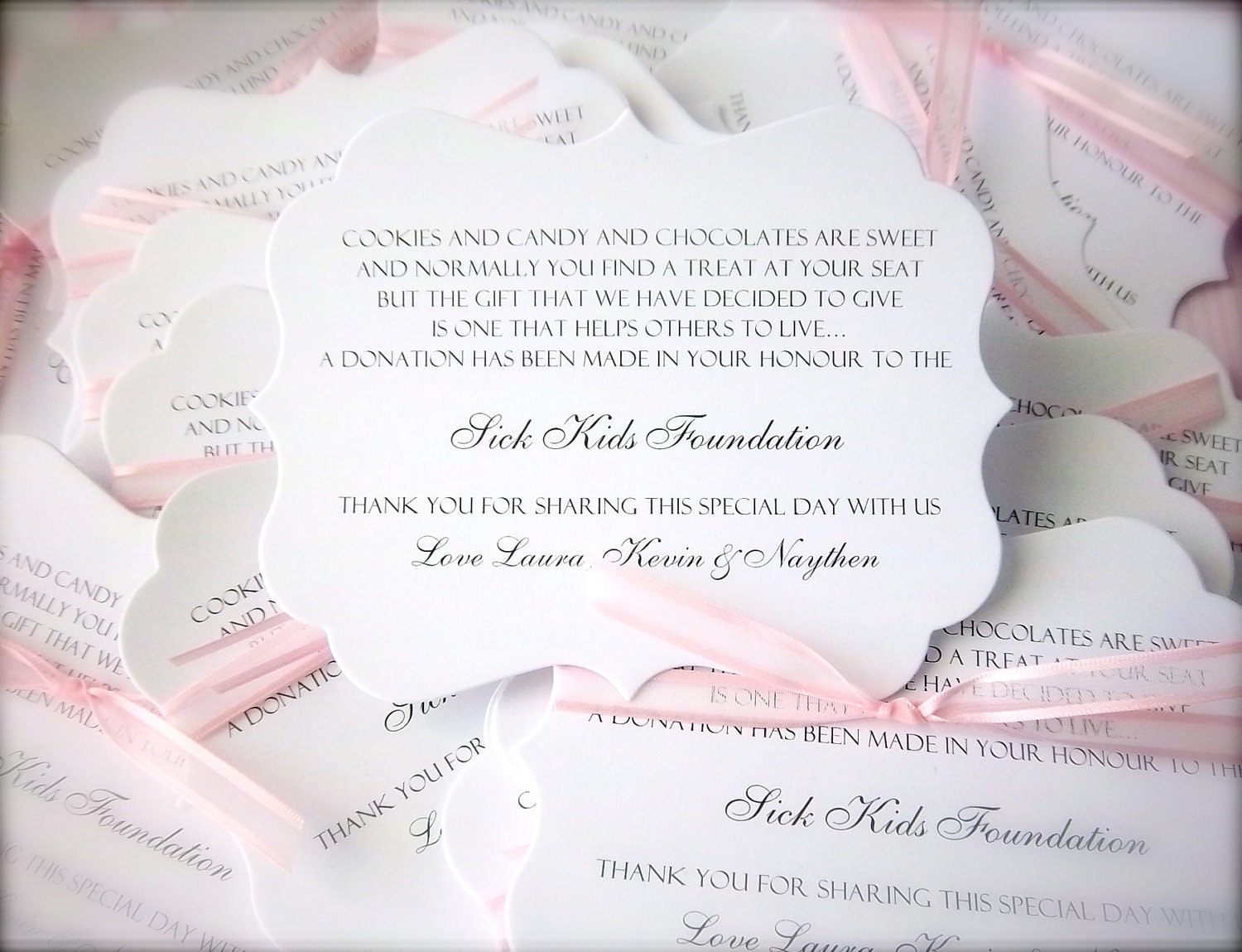 Wedding Gift List Wording Charity : 300 Donation Cards/Charity Favor Cards RESERVED for Joanna