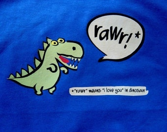 Kids Rawr Means I Love You Dinosaur Tee Shirt