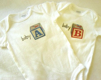 Baby A and Baby B Baby Bodysuits (sizes preemie to 24 months)