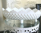 Vintage Fenton Hobnail  Milk Glass   Candy or Nut Dish