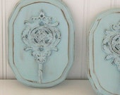 Soft Shabby Chic  Blue   Upscaled  Iron Wall Hook Plaque