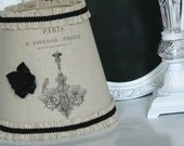 Lamp Shade  Linen   with  French Chandelier Ad  Paris Shabby Chic