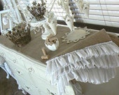 Burlap Table or Buffet Runner  with Ruffles  in Shabby Chic Style
