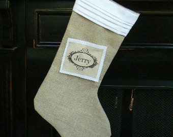 Burlap Christmas Stocking Shabby Chic with Pleated  White Cotton Cuff and Custom Name Tag