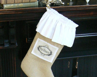 Burlap Christmas Stocking   Shabby Chic with White Cotton Ruffle and Custom Name Tag