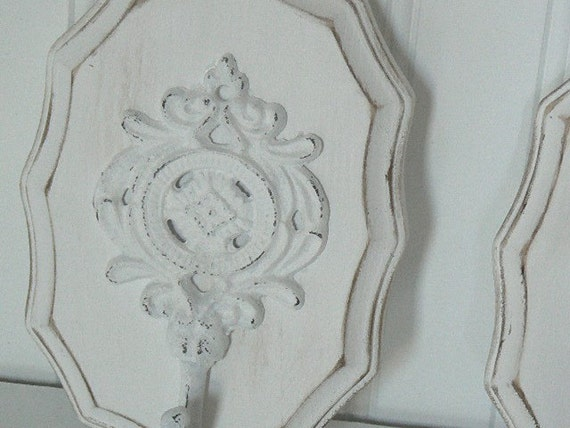 Shabby Chic  French White   Upscaled Iron Wall Hook Plaque