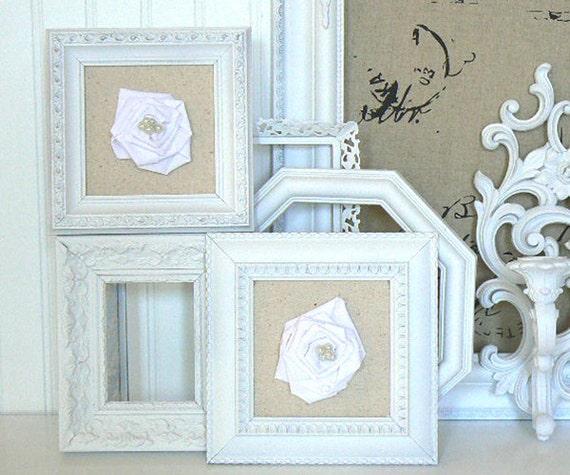 Framed Shabby Chic Fabric Roses on Linen  Custom Order