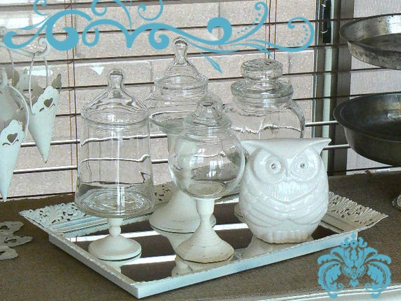 Pedestal Apothecary Jar Collection  with Vintage Mirrored Tray and White Owl  Mr Baltimore