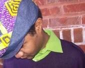 Handmade Driving Hat Eco Friendly Denim African Wax Print