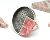 Rhodochrosite Angle and Silver Ring