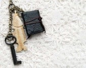 The Piscean - Black Leather Miniature Wearable Book with Tea Stained Pages, Old Fish Carving & Antique Key