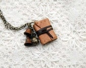 A Little Gypsy - Miniature Fawn Leather Journal with Tea Stained Pages & Vintage Bells