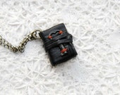 Chest Treasure - Black Leather Miniature Wearable Book with Tea Stained Pages & Tiny Rare Antique Key