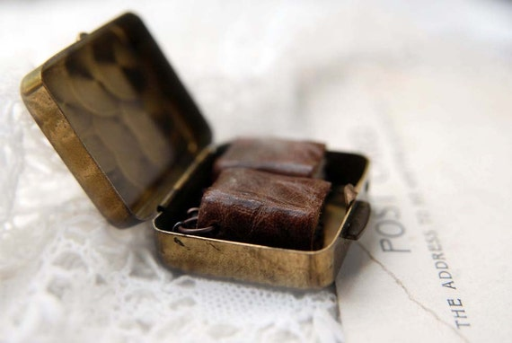 The Girl with the Pearl-Boxed Earrings - Two Miniature Wearable Leather Books for the Ears in a Vintage Treasure Box