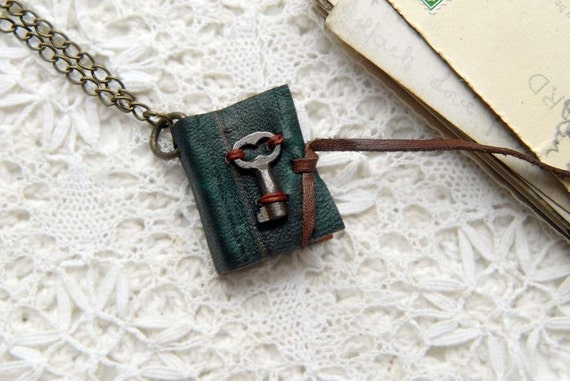Tiny Teal Secrets - Vintage Leather Wearable Book with Tea Stained Pages & Tiny Rare Antique Key