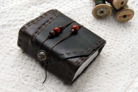 The Wanderer - Dark Brown Reclaimed Leather Journal with Magnani Paper & Vintage Turkoman Button
