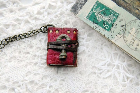 A Little Whimsy - Vintage Red Leather Mini Wearable Book with Tea Stained Pages & Tiny Rare Antique Key
