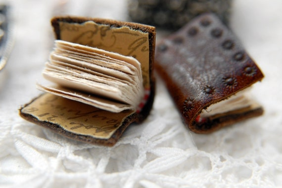 Whisper - Pair of Miniature Rustic Leather Books for the Ears with Tea Stained Pages & Tiny Treasure House