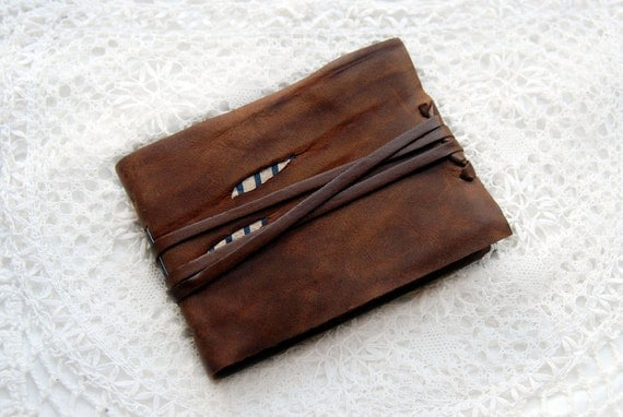 Thought Luggage - Rustic Brown Reclaimed Leather Journal with Tea Stained Pages & Striped Fabric
