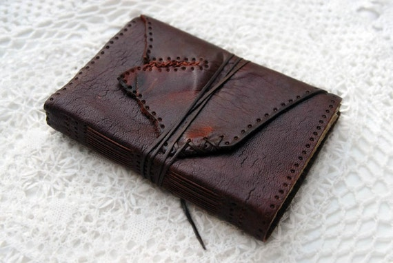 Medieval Musings - Hand Stitched Burgundy Leather Journal with Rustic Tea Stained Pages & Florentine Paper