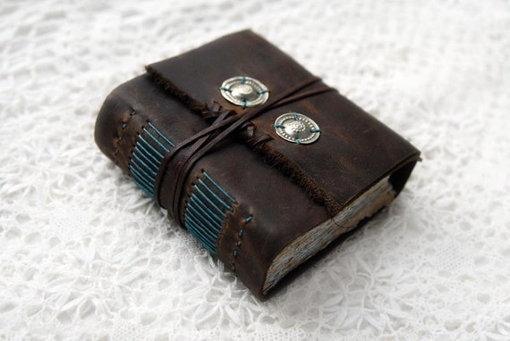 RESERVED - The Little Surfer - Small Rustic Leather Journal with Two-Toned Stained Pages
