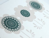 White Anemones - Limited Edition Hand Pulled, Signed, Gocco Screen Print