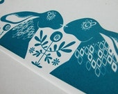 Nordic Blue Hares - Hand Pulled, Signed, Gocco Screen Print