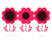 Red Anemones - Hand Pulled, Signed, Gocco Screenprint