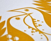 Song Thrushes in Dark Mustard - Hand Pulled, Signed, Gocco Screen Print